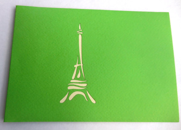 Eiffel (Green) 3D Pop Up Greeting Card 3
