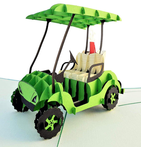Green Golf Cart 3D Pop Up Greeting Card 1