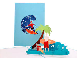 Boy Surfing 3D Pop Up Greeting Card