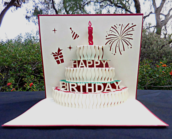 Half Open Happy Birthday 3D Pop Up Greeting Card 2