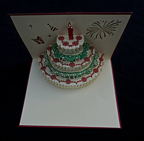Half Open Happy Birthday 3D Pop Up Greeting Card 3