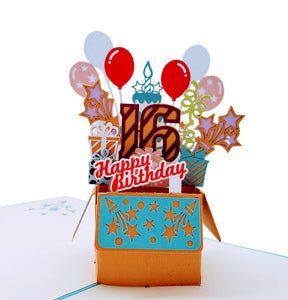 Happy 16th Birthday Blue Party Box 3D Pop Up Greeting Card 1 front