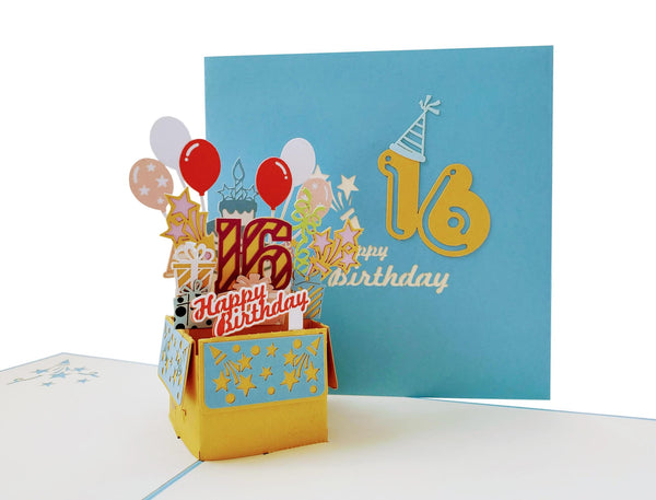 Happy 16th Birthday Blue Party Box 3D Pop Up Greeting Card 2