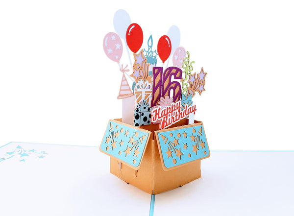 Happy 16th Birthday Blue Party Box 3D Pop Up Greeting Card 3