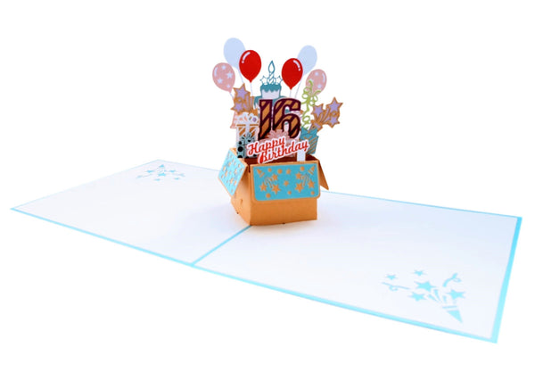 Happy 16th Birthday Blue Party Box 3D Pop Up Greeting Card 4
