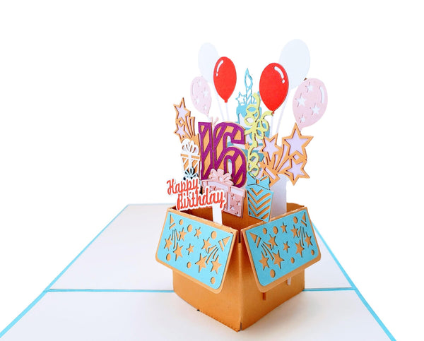 Happy 16th Birthday Blue Party Box 3D Pop Up Greeting Card 5