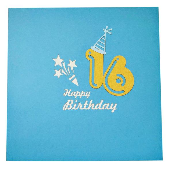 Happy 16th Birthday Blue Party Box 3D Pop Up Greeting Card 8