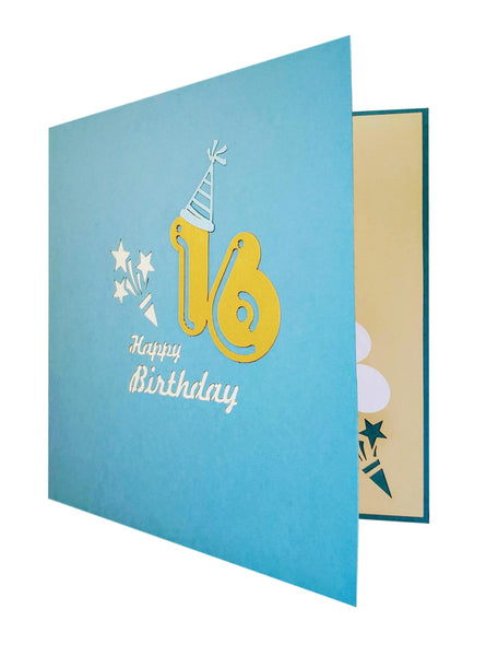 Happy 16th Birthday Blue Party Box 3D Pop Up Greeting Card 7