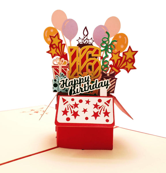 Happy 16th Birthday Red Party Box 3D Pop Up Greeting Card 1 front
