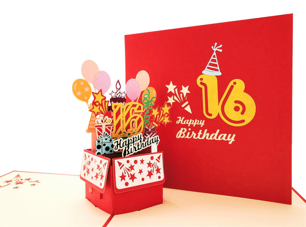 Happy 16th Birthday Red Party Box 3D Pop Up Greeting Card 2
