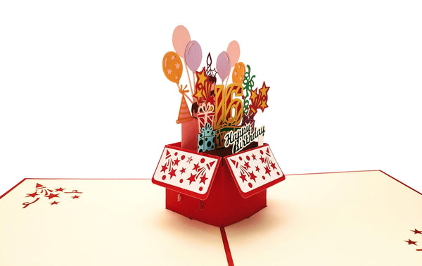 Happy 16th Birthday Red Party Box 3D Pop Up Greeting Card 3