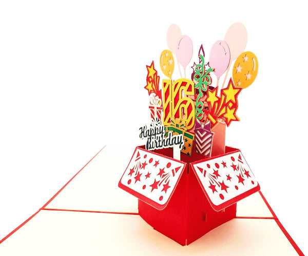 Happy 16th Birthday Red Party Box 3D Pop Up Greeting Card 4