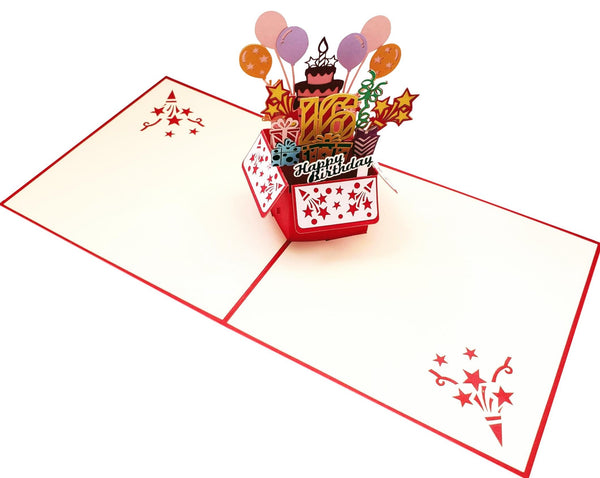 Happy 16th Birthday Red Party Box 3D Pop Up Greeting Card 5