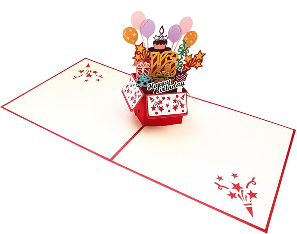 Happy 16th Birthday Red Party Box 3D Pop Up Greeting Card 6