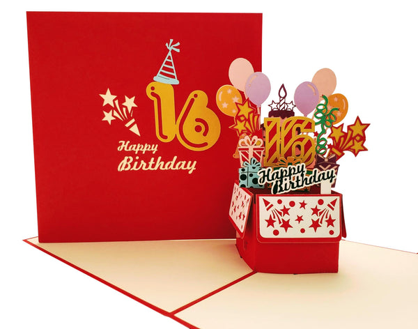 Happy 16th Birthday Red Party Box 3D Pop Up Greeting Card 7