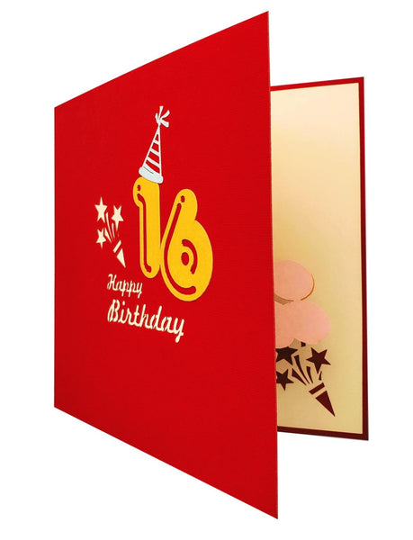 Happy 16th Birthday Red Party Box 3D Pop Up Greeting Card 8