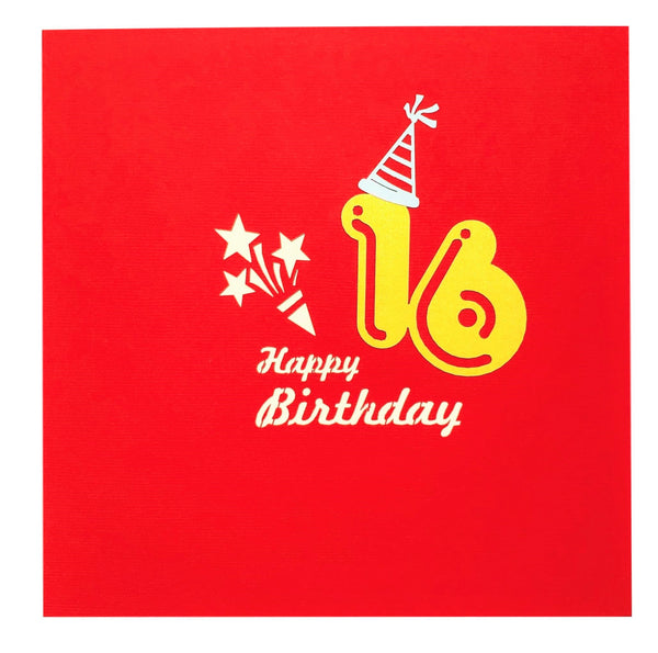 Happy 16th Birthday Red Party Box 3D Pop Up Greeting Card 9
