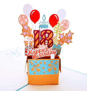 Happy 18th Birthday Blue Party Box 3D Pop Up Greeting Card 1 front