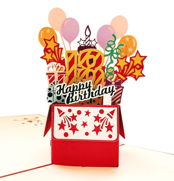 Happy 18th Birthday Red Party Box 3D Pop Up Greeting Card 1 front