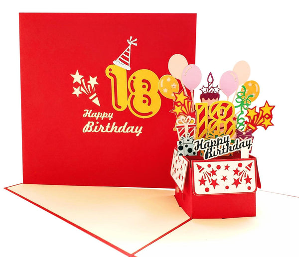 Happy 18th Birthday Red Party Box 3D Pop Up Greeting Card 2