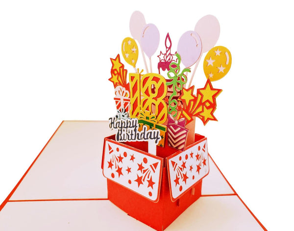 Happy 18th Birthday Red Party Box 3D Pop Up Greeting Card 4