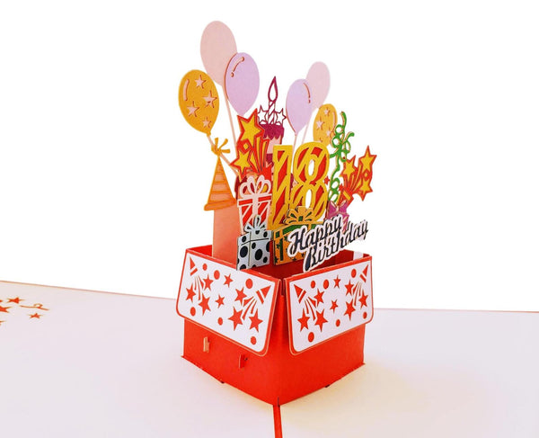 Happy 18th Birthday Red Party Box 3D Pop Up Greeting Card 5