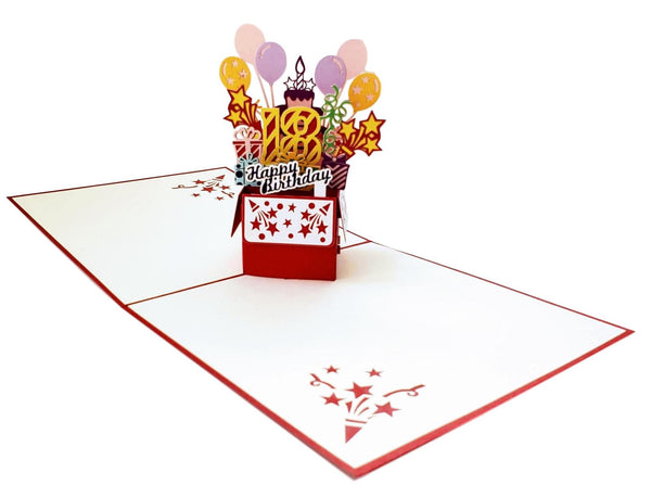 Happy 18th Birthday Red Party Box 3D Pop Up Greeting Card 6
