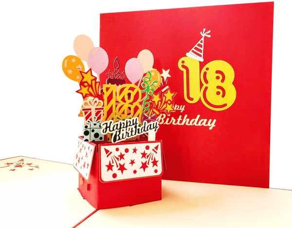 Happy 18th Birthday Red Party Box 3D Pop Up Greeting Card 7