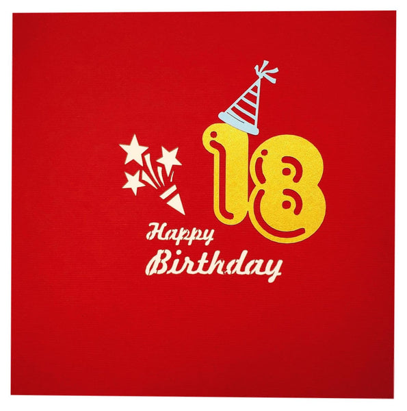 Happy 18th Birthday Red Party Box 3D Pop Up Greeting Card 8