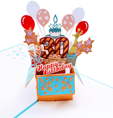 Happy 30th Birthday Blue Party Box 3D Pop Up Greeting Card 1 front