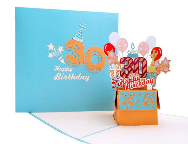 Happy 30th Birthday Blue Party Box 3D Pop Up Greeting Card 2