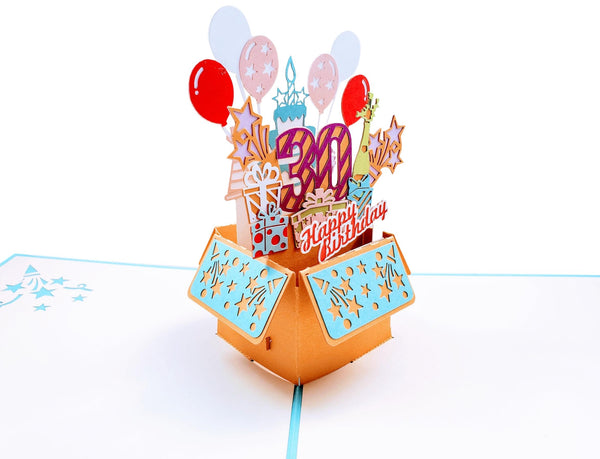 Happy 30th Birthday Blue Party Box 3D Pop Up Greeting Card 6