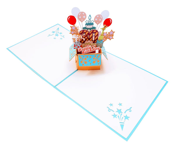 Happy 30th Birthday Blue Party Box 3D Pop Up Greeting Card 4