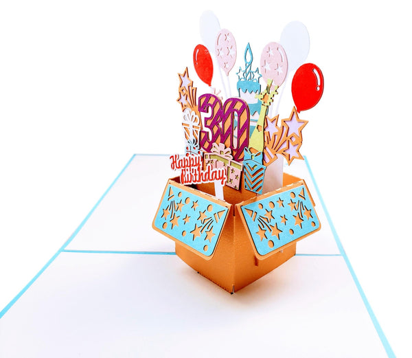 Happy 30th Birthday Blue Party Box 3D Pop Up Greeting Card 3