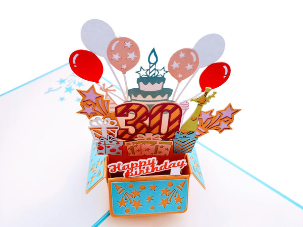 Happy 30th Birthday Blue Party Box 3D Pop Up Greeting Card 5
