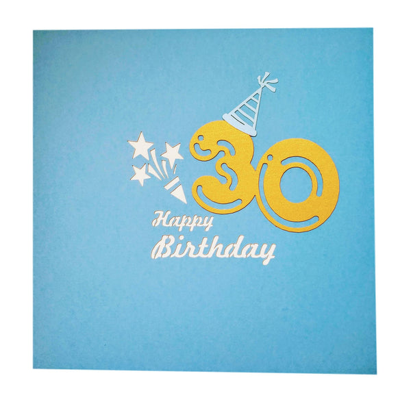 Happy 30th Birthday Blue Party Box 3D Pop Up Greeting Card 7