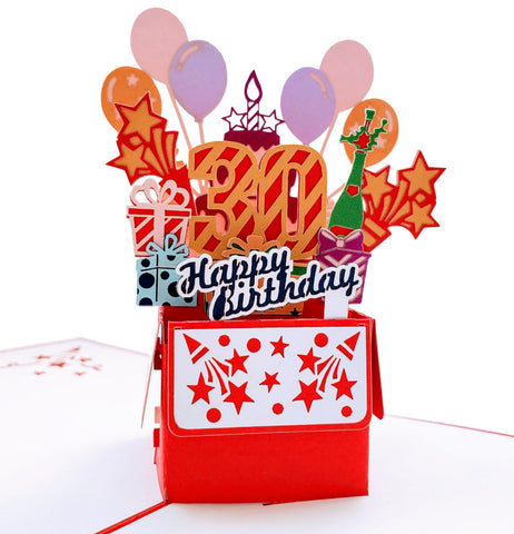 Happy 30th Birthday Red Party Box 3D Pop Up Greeting Card 1 front