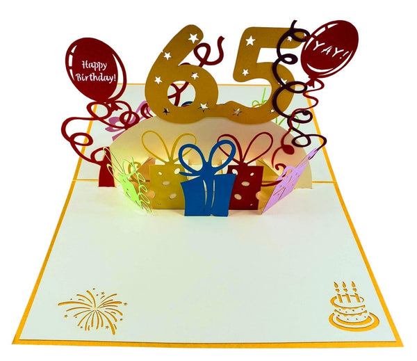 Happy 65th Birthday With Lots of Presents 3D Pop Up Greeting Card 2