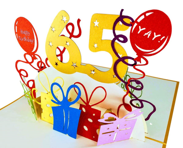 Happy 65th Birthday With Lots of Presents 3D Pop Up Greeting Card 3