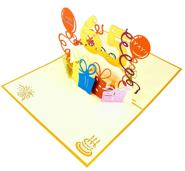 Happy 65th Birthday With Lots of Presents 3D Pop Up Greeting Card 4