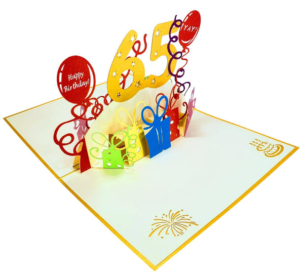Happy 65th Birthday With Lots of Presents 3D Pop Up Greeting Card 6