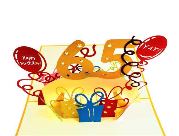Happy 65th Birthday With Lots of Presents 3D Pop Up Greeting Card 7