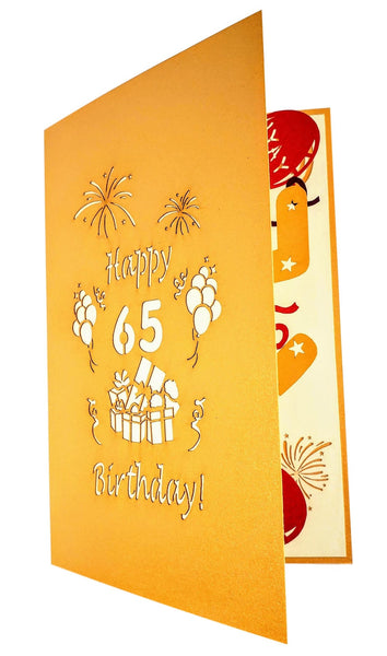 Happy 65th Birthday With Lots of Presents 3D Pop Up Greeting Card 8