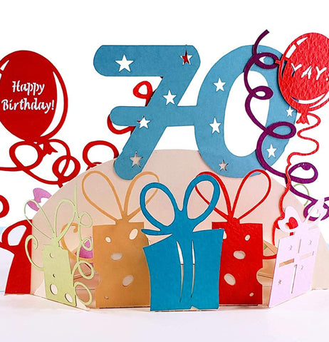 Happy 70th Birthday With Lots of Presents 3D Pop Up Greeting Card 1
