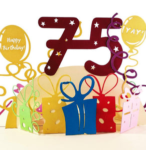 Happy 75th Birthday With Lots of Presents 3D Pop Up Greeting Card 1