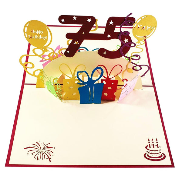 Happy 75th Birthday With Lots of Presents 3D Pop Up Greeting Card 2