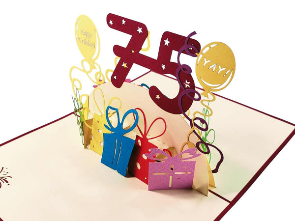Happy 75th Birthday With Lots of Presents 3D Pop Up Greeting Card 3