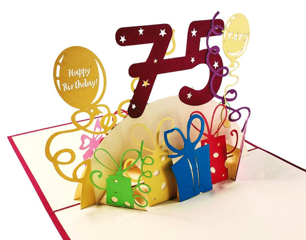 Happy 75th Birthday With Lots of Presents 3D Pop Up Greeting Card 4
