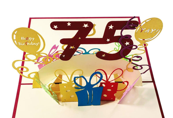 Happy 75th Birthday With Lots of Presents 3D Pop Up Greeting Card 7