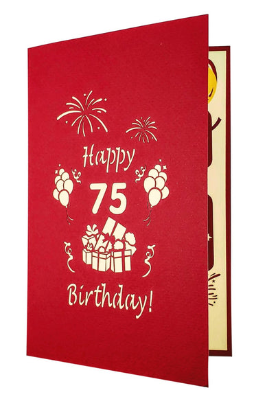 Happy 75th Birthday With Lots of Presents 3D Pop Up Greeting Card 8
